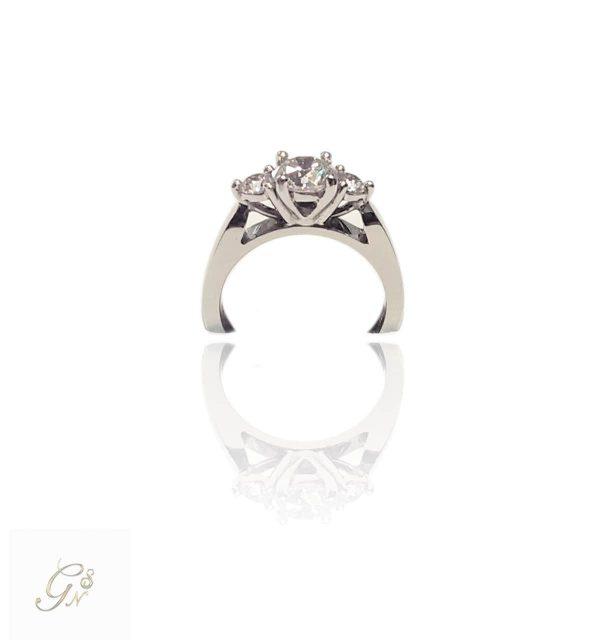 Vigselring diamantring förlovningsring trestensring